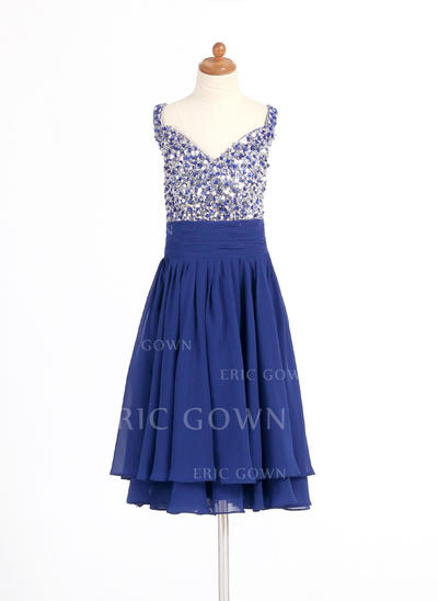 A-Line/Princess Sweetheart Knee-length With Beading/Sequins Chiffon Flower Girl Dresses (010014263)
