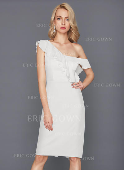 Sheath/Column One-Shoulder Knee-Length Jersey Cocktail Dress With Cascading Ruffles (016124575)