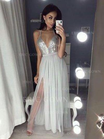 2018 New Chiffon Evening Dresses A-Line/Princess Floor-Length V-neck Sleeveless (017213631)