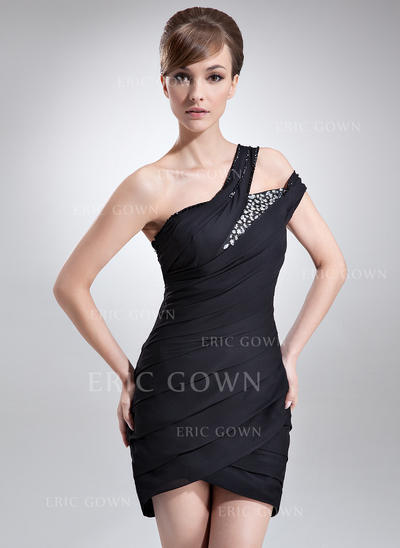 Sheath/Column One-Shoulder Asymmetrical Chiffon Cocktail Dresses With Ruffle Beading (016008341)