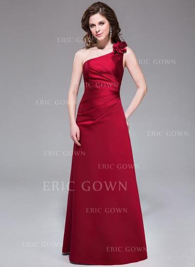 A-Line/Princess One-Shoulder Floor-Length Satin Bridesmaid Dress With Ruffle Flower(s) (007037245)
