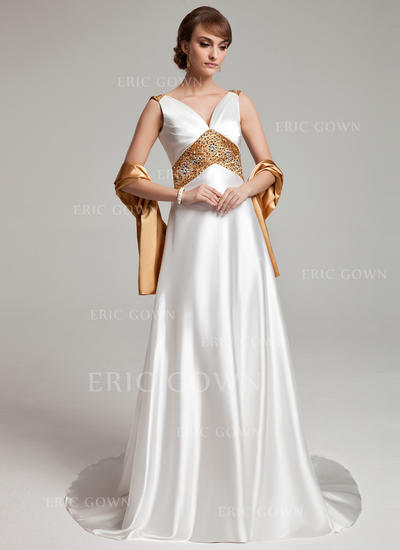 A-Line/Princess Charmeuse Sleeveless V-neck Sweep Train Zipper Up Mother of the Bride Dresses (008003201)