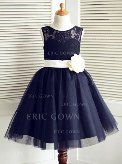 Delicate Scoop Neck A-Line/Princess Flower Girl Dresses Knee-length Tulle/Lace Sleeveless (010146846)