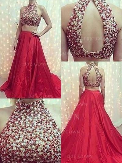A-Line/Princess Halter High Neck Sweep Train Satin Prom Dresses With Beading (018217313)