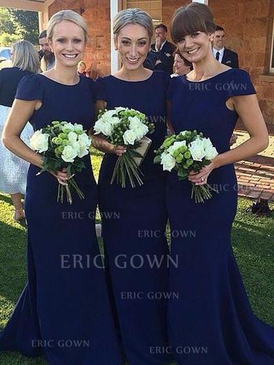 Sheath/Column Satin Bridesmaid Dresses Scoop Neck Short Sleeves Floor-Length (007211726)