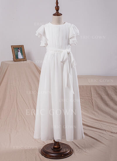 A-Line/Princess Floor-length Flower Girl Dress - Chiffon Short Sleeves Scoop Neck With Bow(s) (010101891)