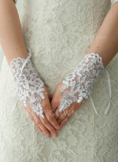 Lace Ladies' Gloves Wrist Length Bridal Gloves Fingerless Gloves (014192208)