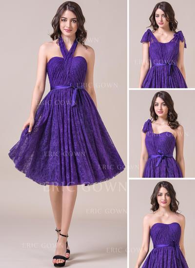 A-Line/Princess Sweetheart Knee-Length Bridesmaid Dresses With Ruffle Bow(s) (007057696)