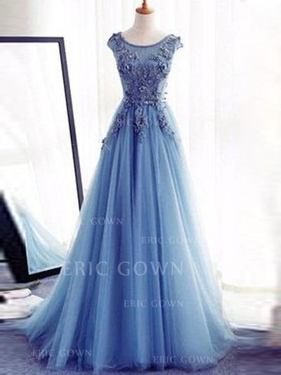 Luxurious Tulle Evening Dresses A-Line/Princess Floor-Length Scoop Neck Sleeveless (017196705)