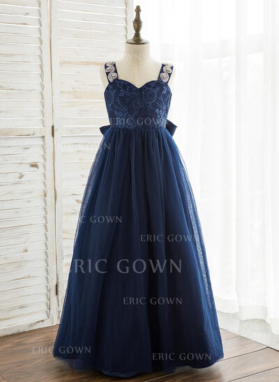 A-Line/Princess Floor-length Flower Girl Dress - Tulle/Lace Sleeveless Straps With Rhinestone (010164748)