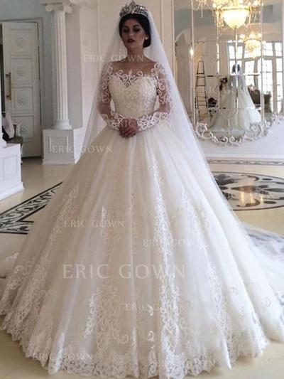 Ball-Gown Off-The-Shoulder Court Train Wedding Dresses With Appliques (002219367)