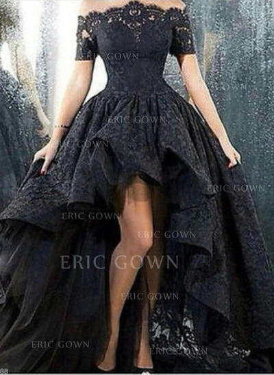 A-Line/Princess Off-the-Shoulder Asymmetrical Lace Prom Dresses (018217299)