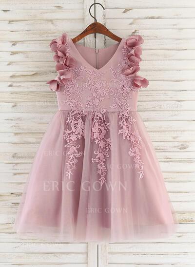 A-Line Knee-length Flower Girl Dress - Satin/Tulle/Lace Sleeveless V-neck With Flower(s) (010172366)