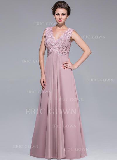 A-Line/Princess Chiffon Sleeveless V-neck Floor-Length Zipper Up Mother of the Bride Dresses (008211502)