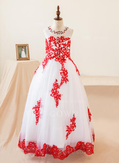 Ball Gown Floor-length Flower Girl Dress - Organza Sleeveless Scoop Neck With Appliques/Rhinestone (010103735)