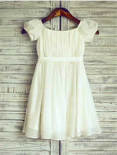 A-Line/Princess Square Neckline Tea-length With Ruffles Chiffon Flower Girl Dresses (010211899)