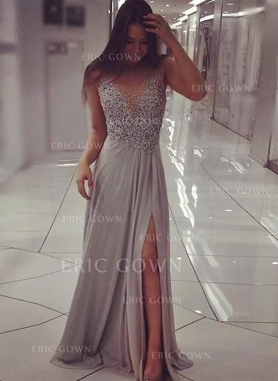 A-Line/Princess Sweep Train Prom Dresses Scoop Neck Chiffon Sleeveless (018145542)