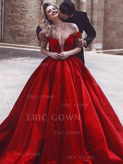 Ball-Gown Off-the-Shoulder Sweep Train Evening Dresses With Ruffle (017218545)