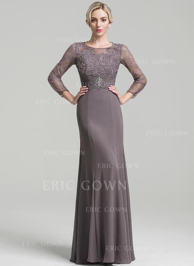 Sheath/Column Chiffon Long Sleeves Scoop Neck Floor-Length Zipper Up Mother of the Bride Dresses (008091982)