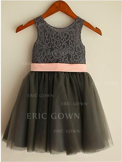 A-Line/Princess Scoop Neck Tea-length With Bow(s) Tulle/Lace Flower Girl Dresses (010212040)