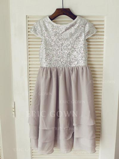 A-Line/Princess Scoop Neck Knee-length With Pleated Chiffon/Sequined Flower Girl Dresses (010212043)