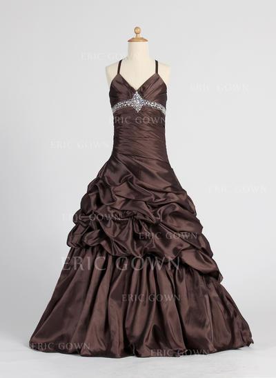 Elegant V-neck A-Line/Princess Flower Girl Dresses Floor-length Taffeta Sleeveless (010005885)