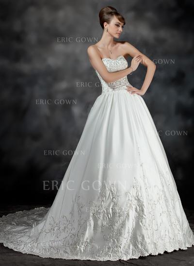 Ball-Gown Sweetheart Chapel Train Wedding Dresses With Ruffle Beading (002210429)