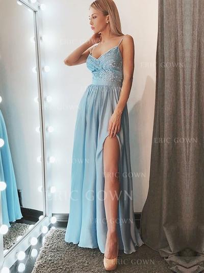 A-Line/Princess V-neck Floor-Length Prom Dresses With Lace Split Front (018218505)