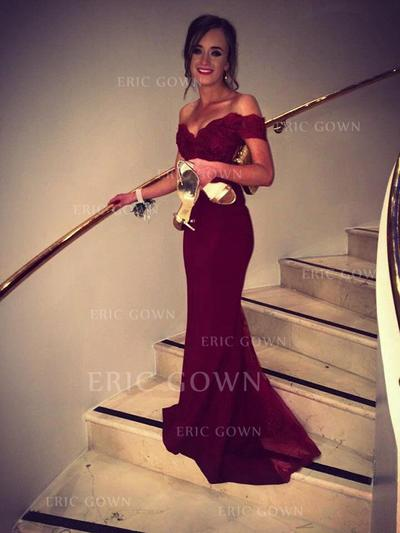 Trumpet/Mermaid Off-the-Shoulder Sweep Train Charmeuse Prom Dresses (018145843)