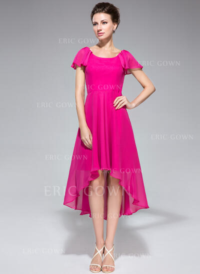A-Line Scoop Neck Asymmetrical Chiffon Mother of the Bride Dress With Cascading Ruffles (008042831)