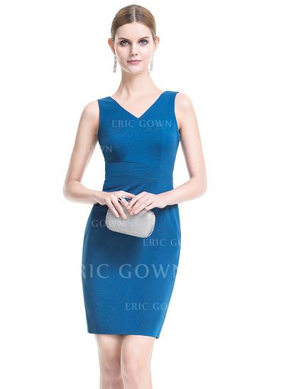 Sheath/Column V-neck Short/Mini Jersey Cocktail Dress (016079898)