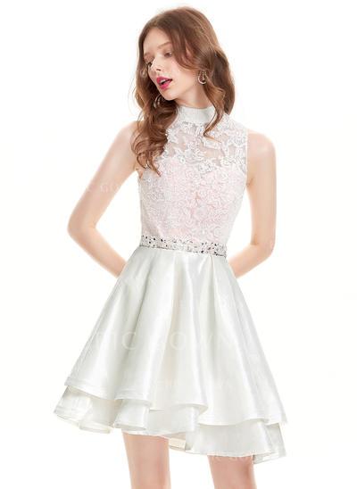 A-Line/Princess High Neck Asymmetrical Taffeta Homecoming Dresses With Beading Sequins (022214177)
