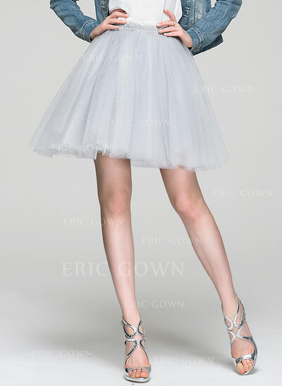 A-Line/Princess Short/Mini Tulle Cocktail Dress (016087551)