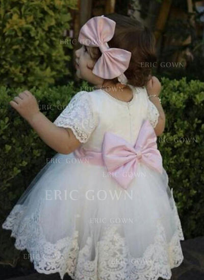 A-Line/Princess Scoop Neck Tea-length Tulle Christening Gowns With Lace Bow(s) (2001217433)