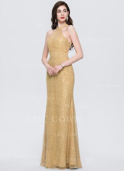 Trumpet/Mermaid Scoop Neck Floor-Length Sequined Prom Dresses (018146395)