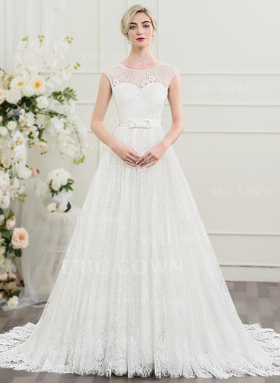 A-Line/Princess Scoop Neck Court Train Lace Wedding Dress With Beading Bow(s) (002095853)