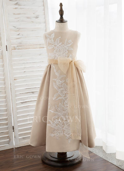 A-Line Tea-length Flower Girl Dress - Satin/Tulle/Lace Sleeveless Scoop Neck (010172355)