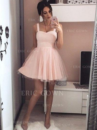 A-Line/Princess Sweetheart Short/Mini Homecoming Dresses With Ruffle (022212452)