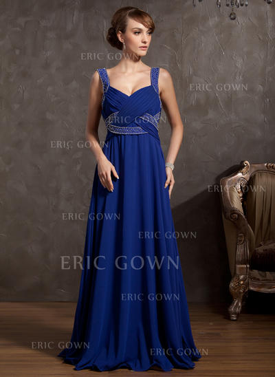 Empire Chiffon Sleeveless V-neck Floor-Length Zipper Up Mother of the Bride Dresses (008211062)