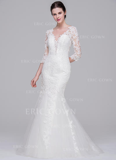 Trumpet/Mermaid V-neck Sweep Train Tulle Lace Wedding Dress (002071570)