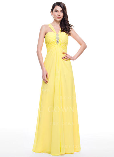 A-Line/Princess V-neck Floor-Length Chiffon Prom Dresses With Ruffle Beading Sequins (018059415)