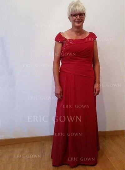 A-Line/Princess Satin Scoop Neck Floor-Length Zipper Up Mother of the Bride Dresses (008212783)