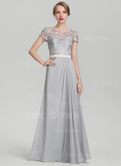 A-Line/Princess Scoop Neck Floor-Length Chiffon Lace Evening Dress With Ruffle (017153421)