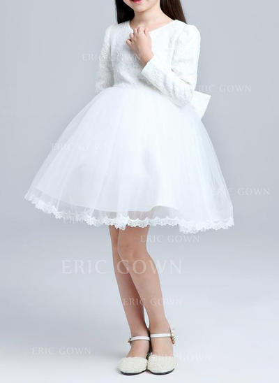 A-Line/Princess Knee-length Flower Girl Dress - Cotton Blends Long Sleeves Scoop Neck With Lace (010087483)