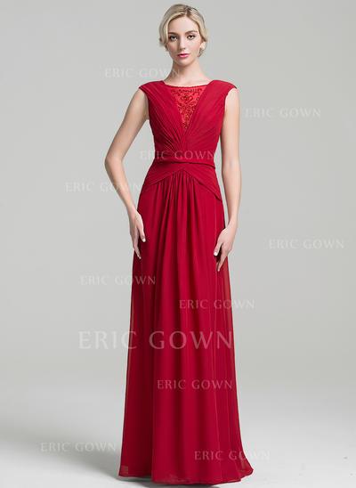 A-Line/Princess Chiffon Sleeveless Scoop Neck Floor-Length Zipper Up Mother of the Bride Dresses (008091965)