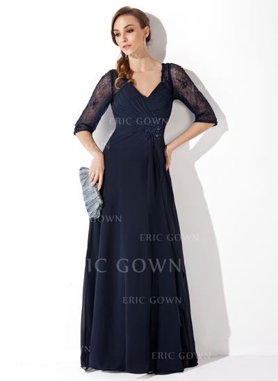 A-Line/Princess Chiffon Lace 1/2 Sleeves V-neck Floor-Length Zipper Up Mother of the Bride Dresses (008213089)