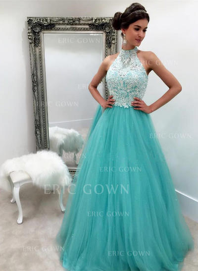 A-Line/Princess Halter Floor-Length Tulle Evening Dresses With Lace (017217833)