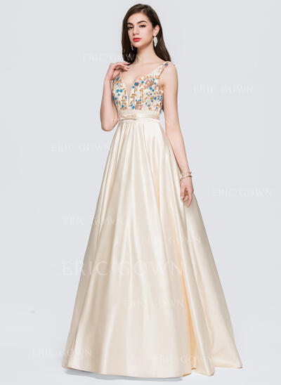 Ball-Gown V-neck Floor-Length Satin Prom Dresses With Lace Beading Bow(s) (018146360)