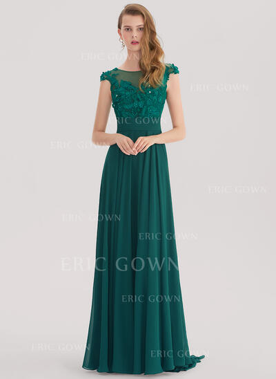 A-Line/Princess Scoop Neck Sweep Train Chiffon Evening Dress With Lace Beading (017153388)