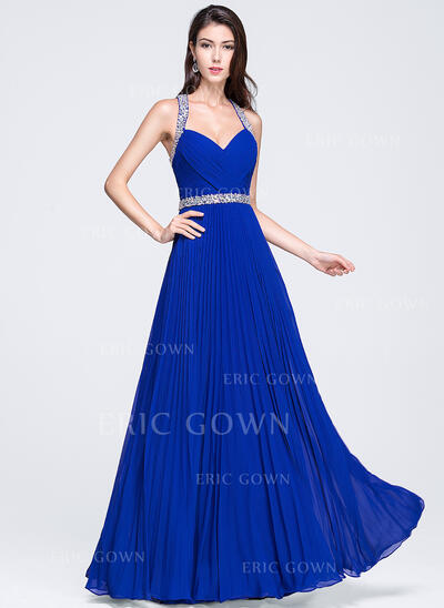 A-Line/Princess Sweetheart Floor-Length Chiffon Prom Dresses With Ruffle Beading Sequins Pleated (018070357)